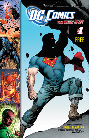 Superman Flash, Aquaman, and Sinestro on cover of DC Comics New 52 line intro